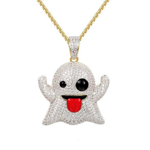 14k Gold Iced Out Ghost Emoji Pendant Necklace - Capital Bling Gold HipHop Jewelry