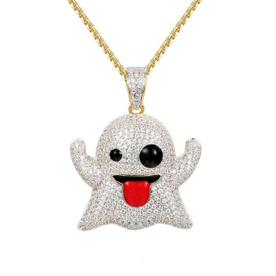 Diamond Ghost Emoji Pendant in Yellow Gold - Capital Bling Gold HipHop Jewelry