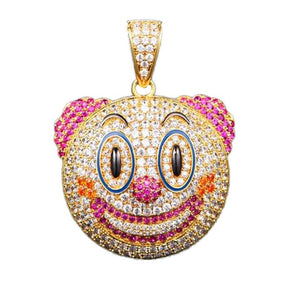 Iced Out 14k Gold Clown Emoji Necklace - Capital Bling Gold HipHop Jewelry