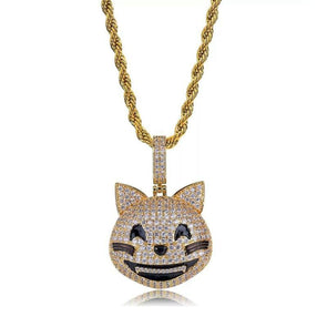 14k Gold Iced Out Smiling Cat Emoji Pendant Necklace - Capital Bling Gold HipHop Jewelry