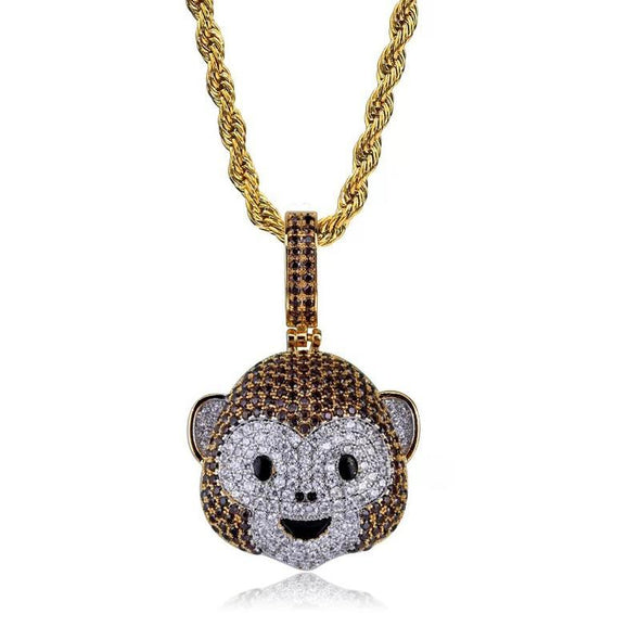 14k Gold Iced Out Smiling Monkey Emoji Pendant Necklace - Capital Bling Gold HipHop Jewelry