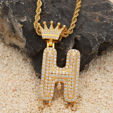 "14k Gold ""H"" Diamond Drip Letter Necklace - Capital Bling Gold HipHop Jewelry"