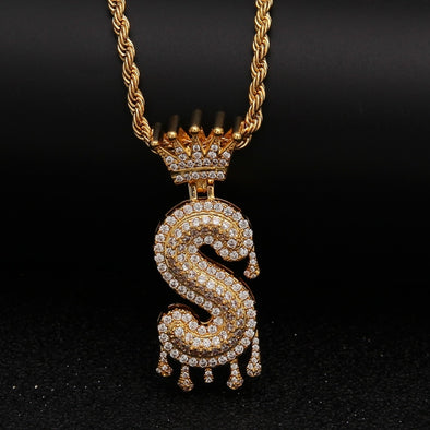 "14k Gold ""S"" Diamond Drip Letter Necklace - Capital Bling Gold HipHop Jewelry"