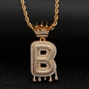 "14k Gold ""B"" Diamond Drip Letter Necklace - Capital Bling Gold HipHop Jewelry"