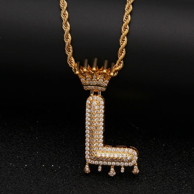 "14k Gold ""L"" Diamond Drip Letter Necklace - Capital Bling Gold HipHop Jewelry"