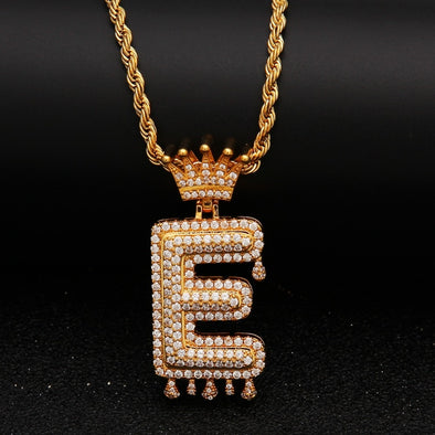 "14k Gold ""E"" Diamond Drip Letter Necklace - Capital Bling Gold HipHop Jewelry"