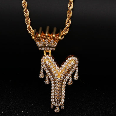 "14k Gold ""Y"" Diamond Drip Letter Necklace - Capital Bling Gold HipHop Jewelry"