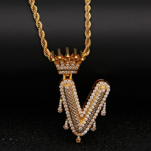 "14k Gold ""V"" Diamond Drip Letter Necklace - Capital Bling Gold HipHop Jewelry"