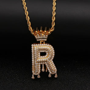 "14k Gold ""R"" Diamond Drip Letter Necklace - Capital Bling Gold HipHop Jewelry"