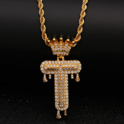 "14k Gold ""T"" Diamond Drip Letter Necklace - Capital Bling Gold HipHop Jewelry"