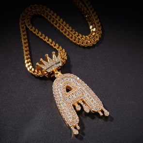 "14k Gold ""A"" Diamond Drip Letter Necklace - Capital Bling Gold HipHop Jewelry"