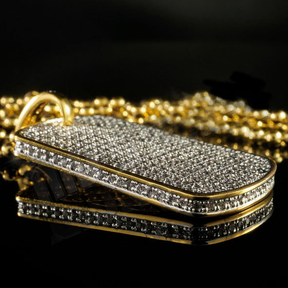 Diamond Dog Tag Pendant in Yellow Gold - Capital Bling Gold HipHop Jewelry