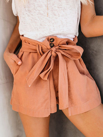 Large Size Belted Summer Slim Fit Shorts