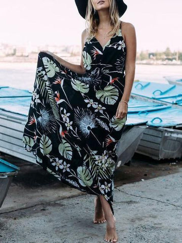 Printed Spaghetti V-neck Bohemia Maxi Dress