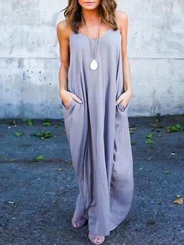 Simple Spaghetti-neck Maxi Dress