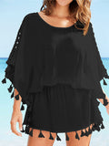 Tassels Hollow Sleeves Elastic Waist Beach Cover-Ups