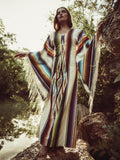 Tasseled Flared Sleeves Printed Maxi Dress