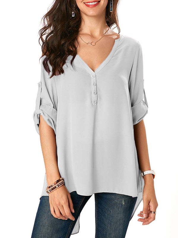 Chiffion V-neck Solid Blouses&shirts Tops