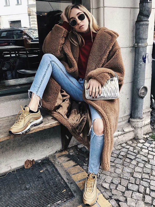 Loose Solid Lapel Fuzzy Coat