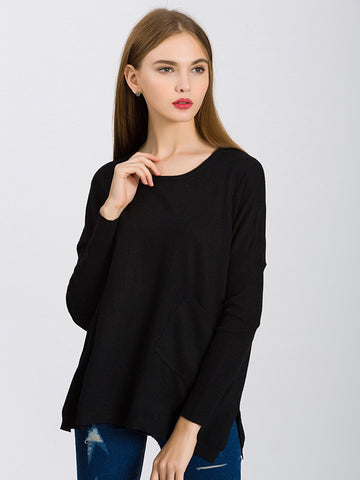 Simple Solid Color Long Sleeve Round Neck Loose Sweater Tops