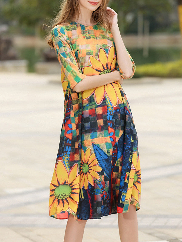 Attractive Sunflower Floral Plus Size Half Sleeve A-Line Midi Dress