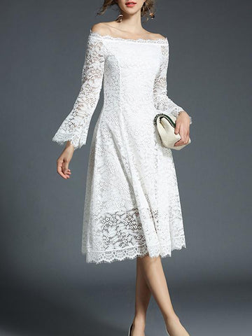 Off-the-shoulder Flared Sleeves Midi Dress