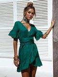 Solid Color V-neck Falbala Mini Dress
