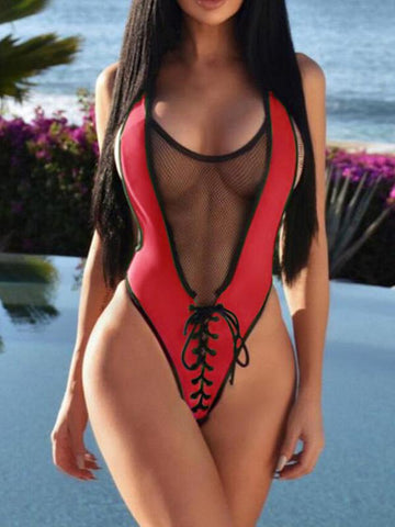 Tulle Lace-up One-piece Swimwear