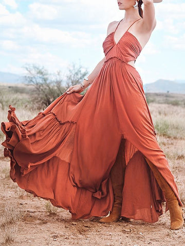 Ruffled Waisted Spaghetti-neck Maxi Dress
