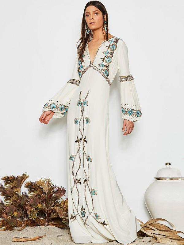 White Embroidered Puff Sleeve Maxi Dress