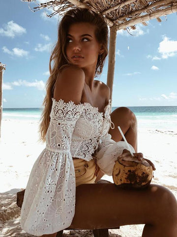 Lace Off Shoulder Puff Sleeves Blouses&shirts Tops