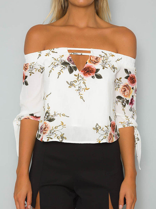 Elegant Floral Off Shoulder Half Sleeve Blouse Shirt Tops