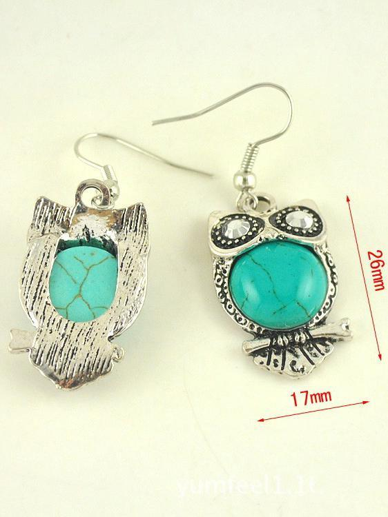 Vintage Bohemia Turquoise Owl Hollow Earrings