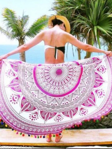 Attractive Bohemia Summer Round Shawl Beach Mat Yoga Mat