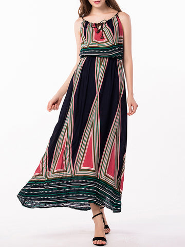 Plus Printed Waisted Halterneck Maxi Dress