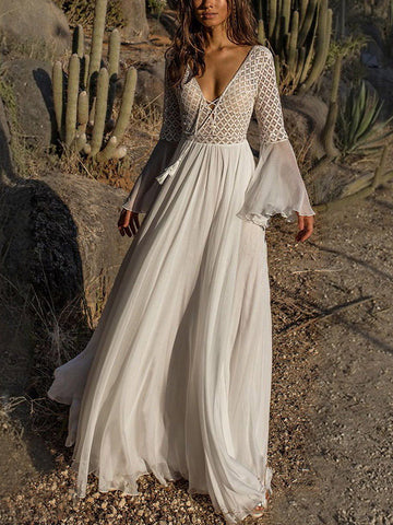 V-neck Flared Backless Maxi White Dress
