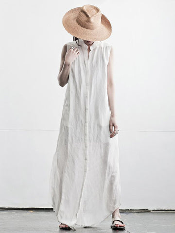 Simple White Sleeveless Stand Collar Long Dress