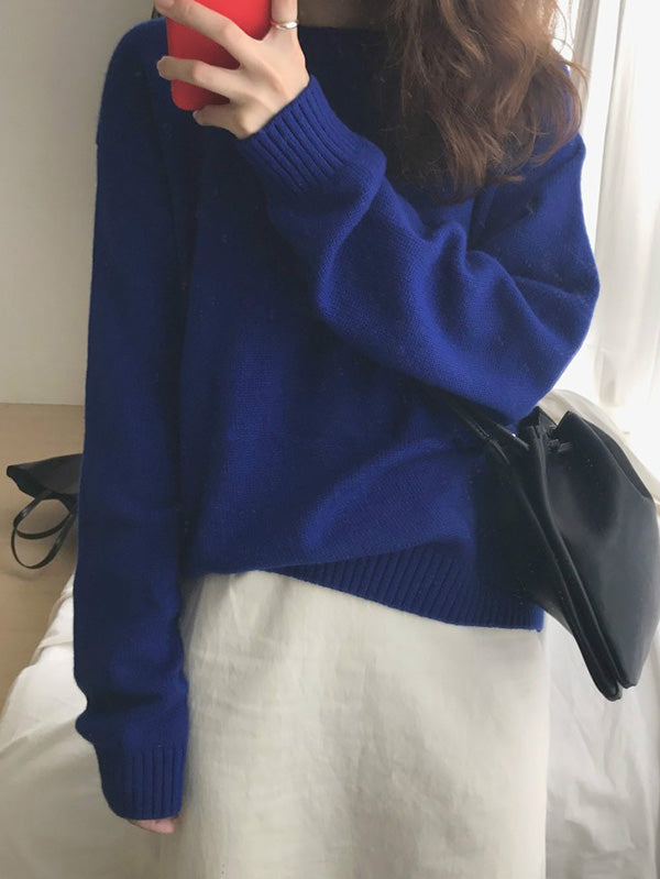 Loose Kniting Blue Sweater