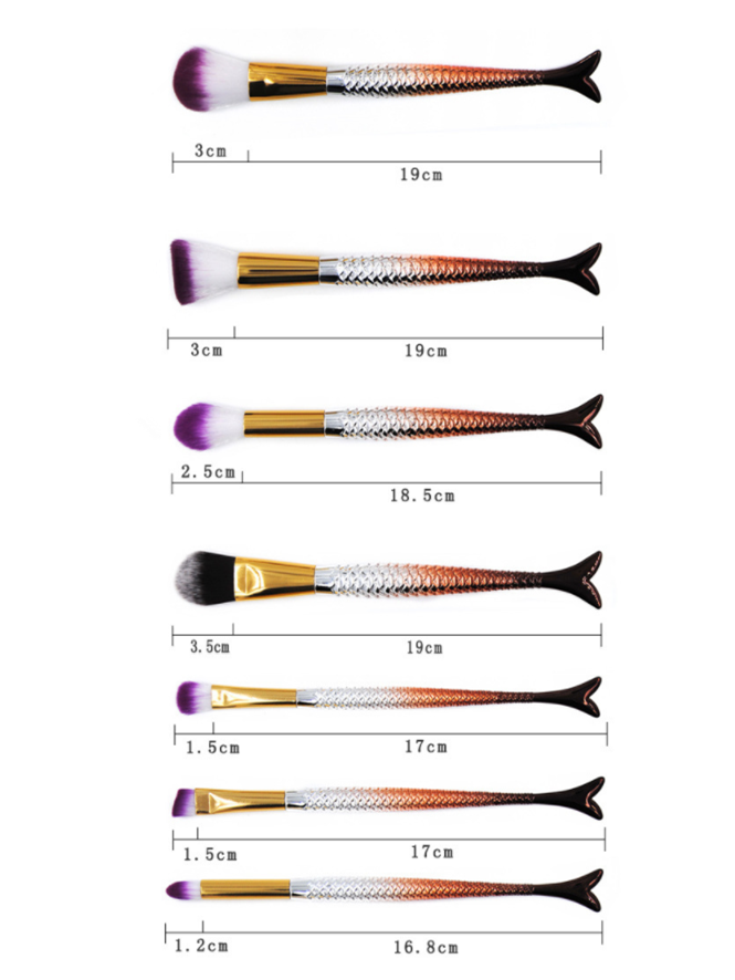 7pcs Mermaid Handle Makeup Brush