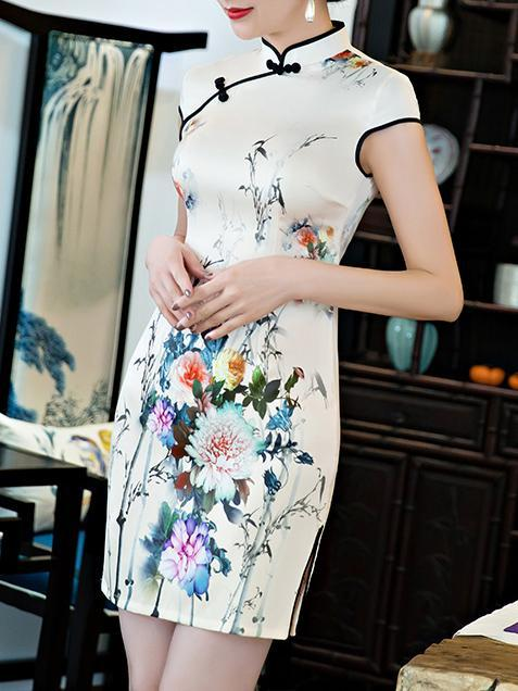 Elegant Printed Short Cheongsams Dress