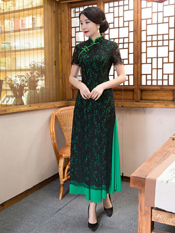The New Ao Dai Long Sleeved Lace Slim Collar Cheongsam Dress