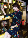 Navy Blue Flower 3/4 Sleeve Turtle Neck Side Split Short Cheongsam