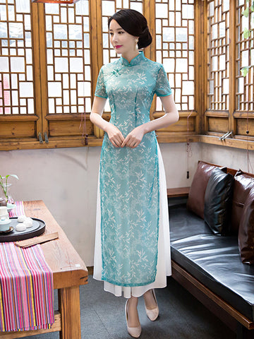 Spring Long Bamboo Fiber Collar Ao Dai Cheongsam Dress