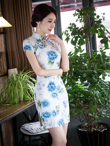 Smart Floral Cap Sleeve Turtle Neck Side Split Short Cheongsam Party Dress
