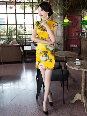 Pretty Gold Floral Cap Sleeve Turtle Neck Side Split Short Cheongsam