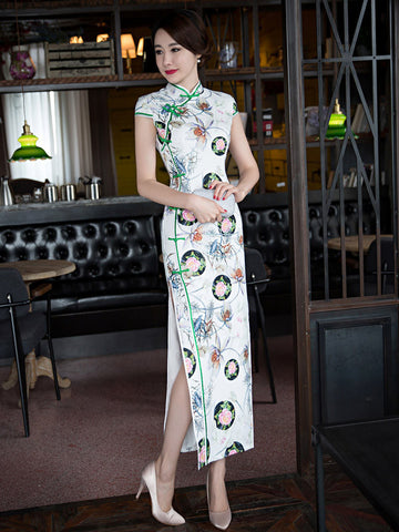 Pretty Floral Cap Sleeve Turtle Neck Side Split Long Cheongsam Party Dress
