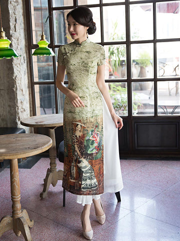 Unique Printed Ao Dai Long Cheongsam Dress