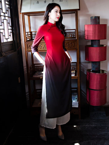 Vintage Red Gradient Color Ao Dai Long Cheongsam Dress