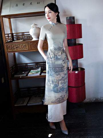 Vintage Printing Two Pieces Short Sleeve Cheongsam Dress