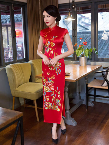 Attractive Red Floral Cap Sleeve Turtle Neck Side Split Long Cheongsam Party Dress